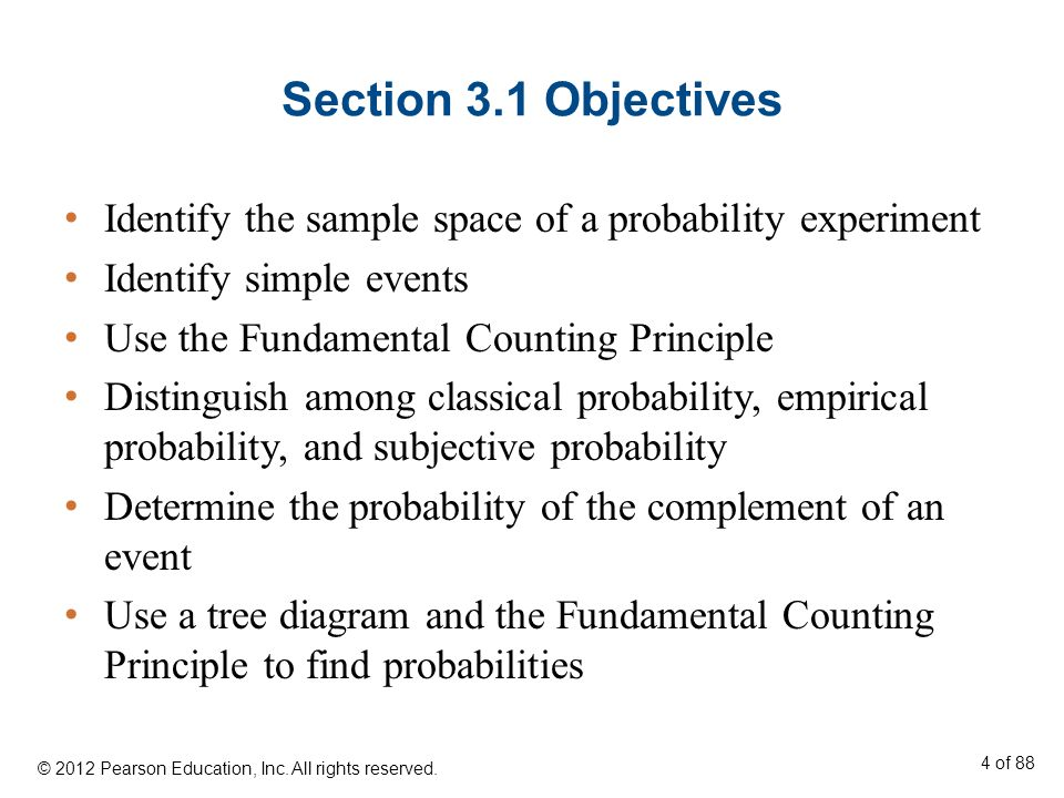 Section 3.1 Objectives Identify the sample space of a probability experiment Identify simple events Use the Fundamental Counting Principle Distinguish