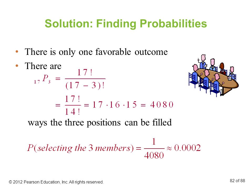 Solution: Finding Probabilities There is only one favorable outcome There are ways the three positions can be filled © 2012 Pearson Education, Inc. Al