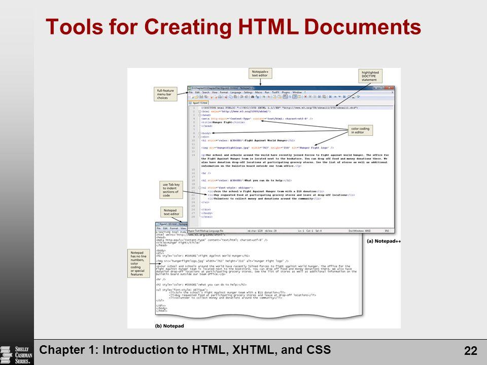 Chapter 1: Introduction to HTML, XHTML, and CSS 22 Tools for Creating HTML Documents