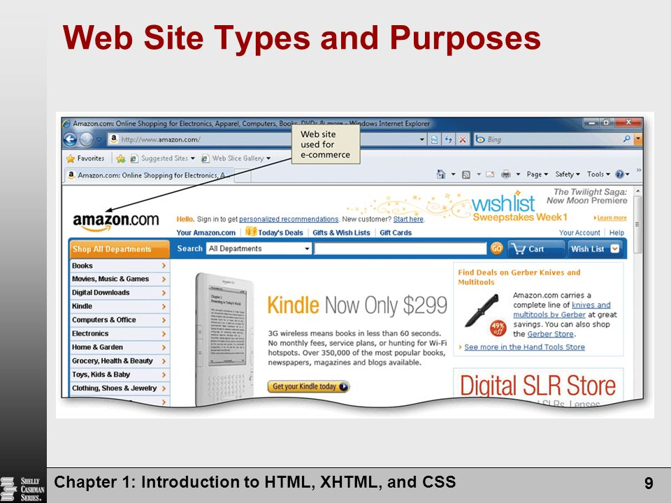Web Site Types and Purposes Chapter 1: Introduction to HTML, XHTML, and CSS 9