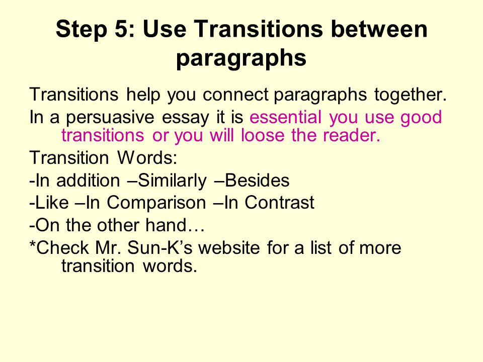 transitions in essays paragraphs
