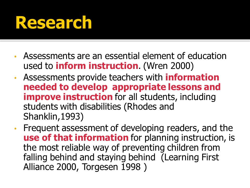 Targeted assessment means shifting to evaluations that are designed around the specific targeted concerns of the student.