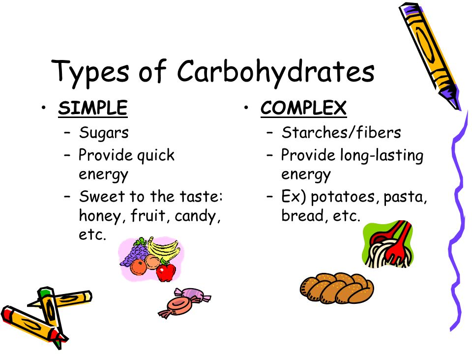 Types of Carbohydrates SIMPLE –S–Sugars –P–Provide quick energy –S–Sweet to the taste: honey, fruit, candy, etc. COMPLEX –S–Starches/fibers –P–Provide