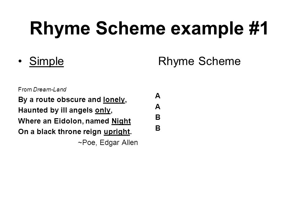 Rhyme Scheme example #1 Simple From Dream-Land By a route obscure and lonely, Haunted by ill angels only, Where an Eidolon, named Night On a black thr