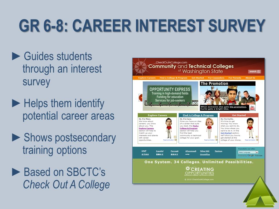Guides students through an interest survey Helps them identify potential career areas Shows postsecondary training options Based on SBCTCs Check Out A College GR 6-8: CAREER INTEREST SURVEY
