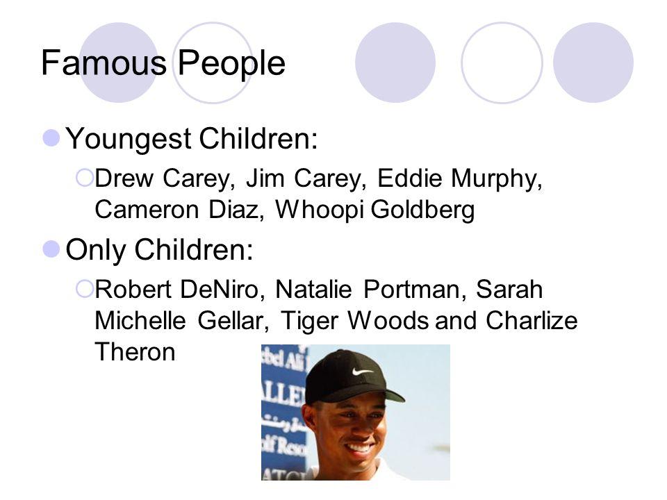 Famous People Youngest Children: Drew Carey, Jim Carey, Eddie Murphy, Cameron Diaz, Whoopi Goldberg Only Children: Robert DeNiro, Natalie Portman, Sar