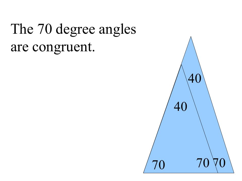 70 40 The 70 degree angles are congruent.