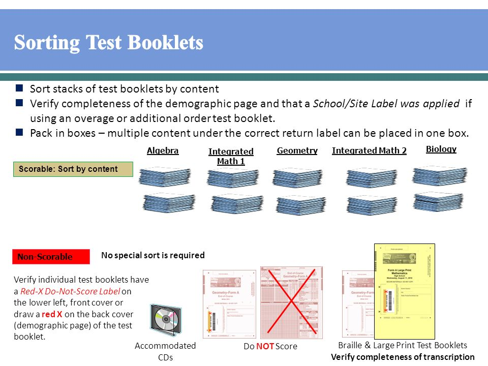 Sort stacks of test booklets by content Verify completeness of the demographic page and that a School/Site Label was applied if using an overage or additional order test booklet.
