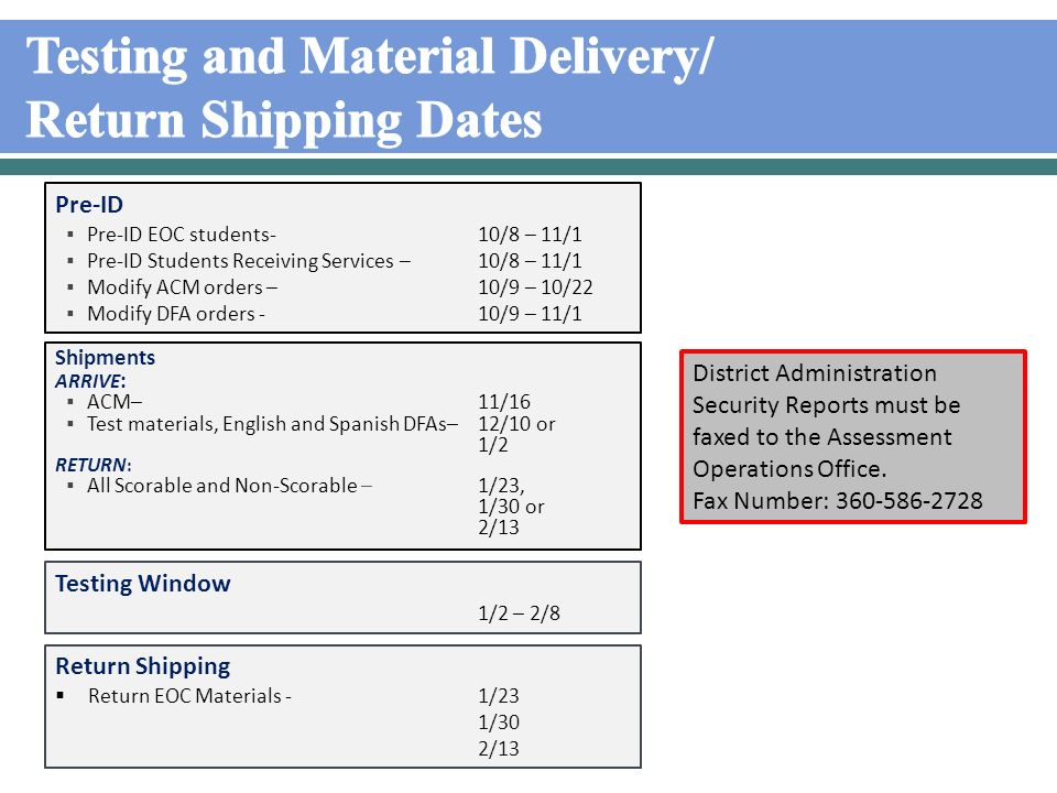 Test Materials Receipt With your initial materials shipment, you will receive a Return Shipping Kit.