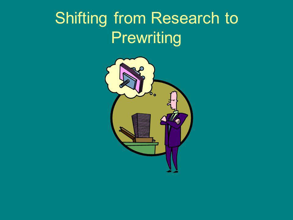 Shifting from Research to Prewriting