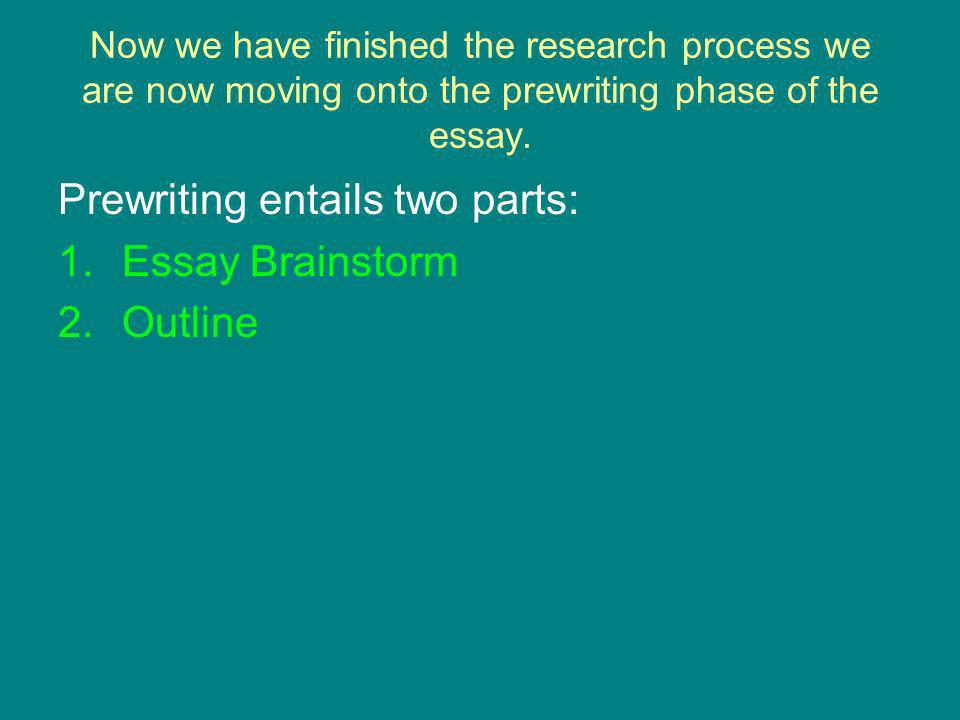 Now we have finished the research process we are now moving onto the prewriting phase of the essay.