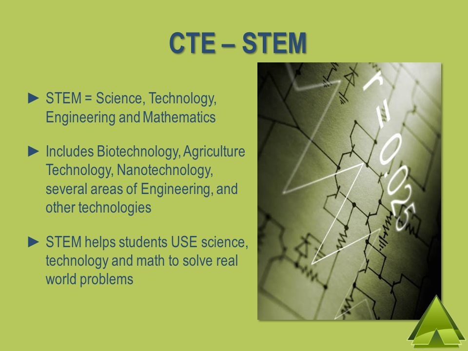 CTE – STEM STEM = Science, Technology, Engineering and Mathematics Includes Biotechnology, Agriculture Technology, Nanotechnology, several areas of Engineering, and other technologies STEM helps students USE science, technology and math to solve real world problems