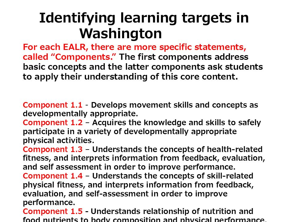 Identifying learning targets in Washington For each EALR, there are more specific statements, called Components. The first components address basic co