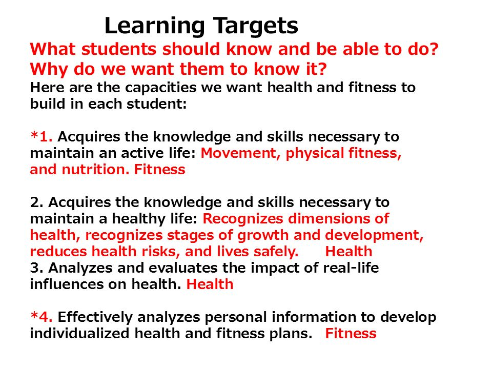 Learning Targets What students should know and be able to do? Why do we want them to know it? Here are the capacities we want health and fitness to bu