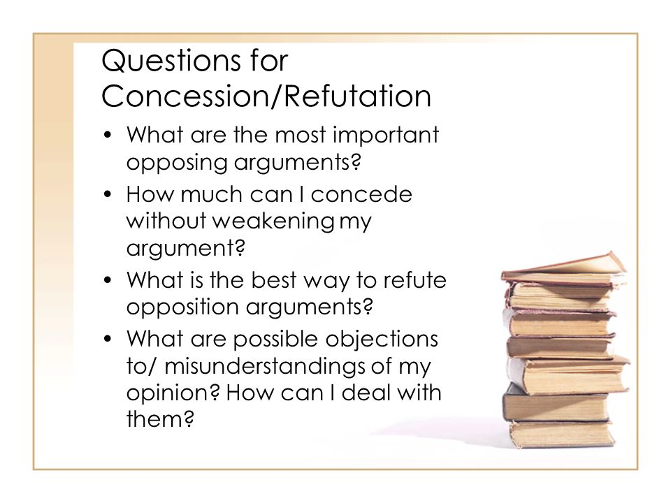 Questions for Concession/Refutation What are the most important opposing arguments? How much can I concede without weakening my argument? What is the
