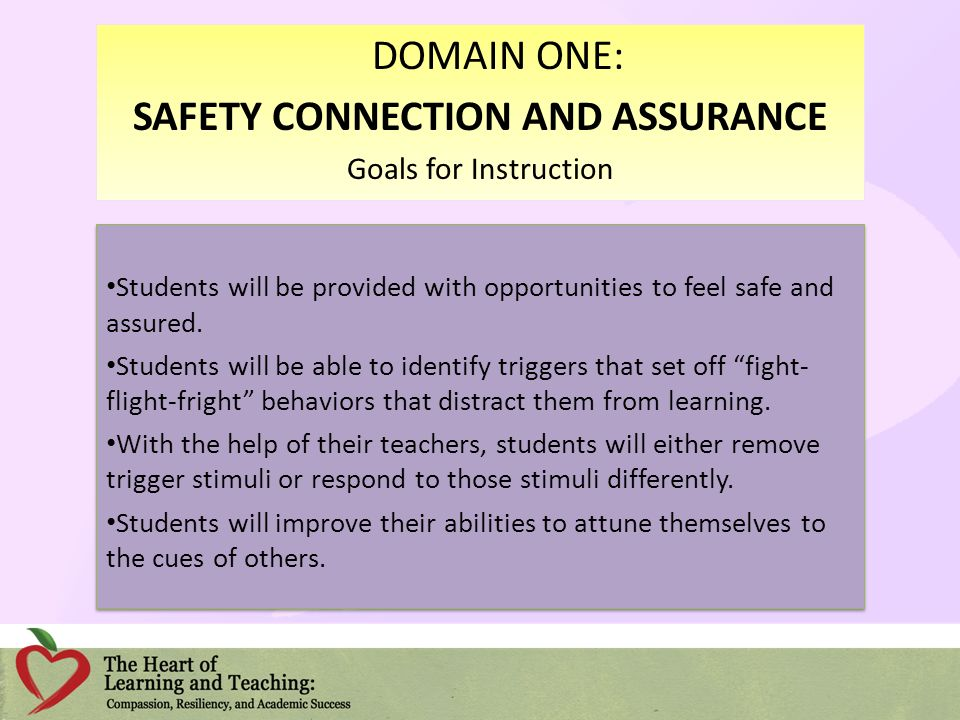 Students will be provided with opportunities to feel safe and assured. Students will be able to identify triggers that set off fight- flight-fright be