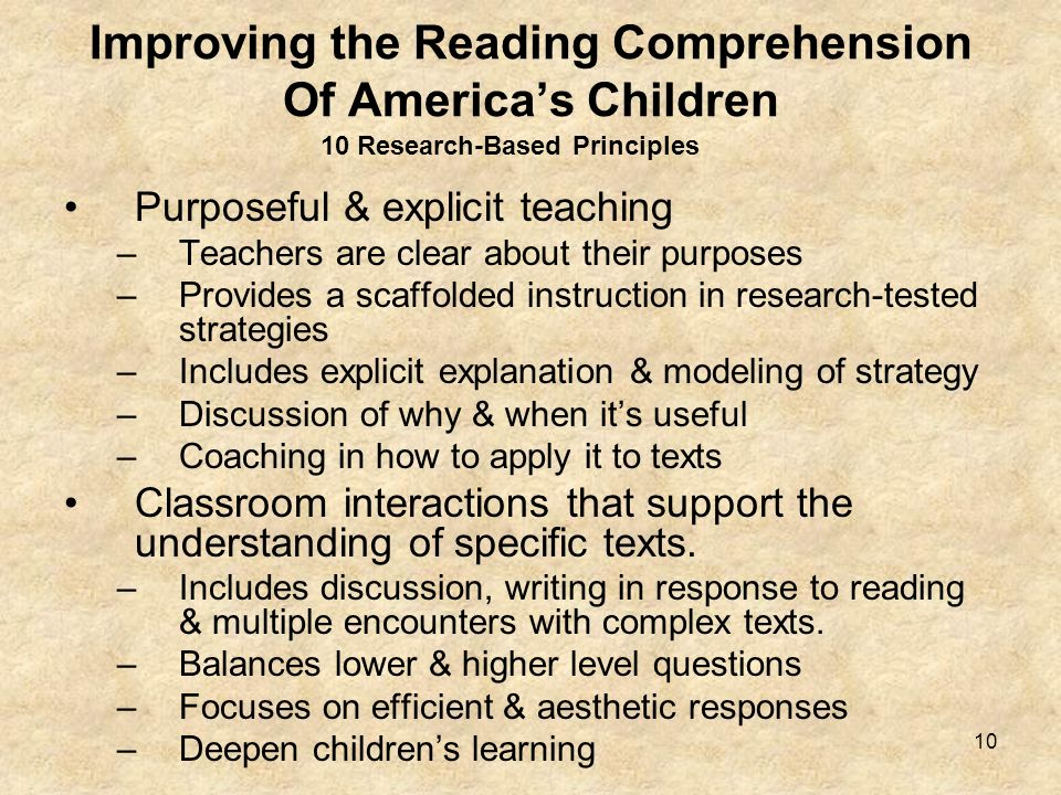 10 Improving the Reading Comprehension Of Americas Children Purposeful & explicit teaching –Teachers are clear about their purposes –Provides a scaffo