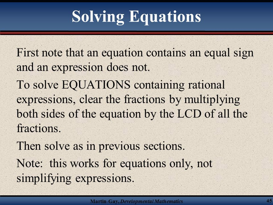 § 14.5 Solving Equations Containing Rational Expressions