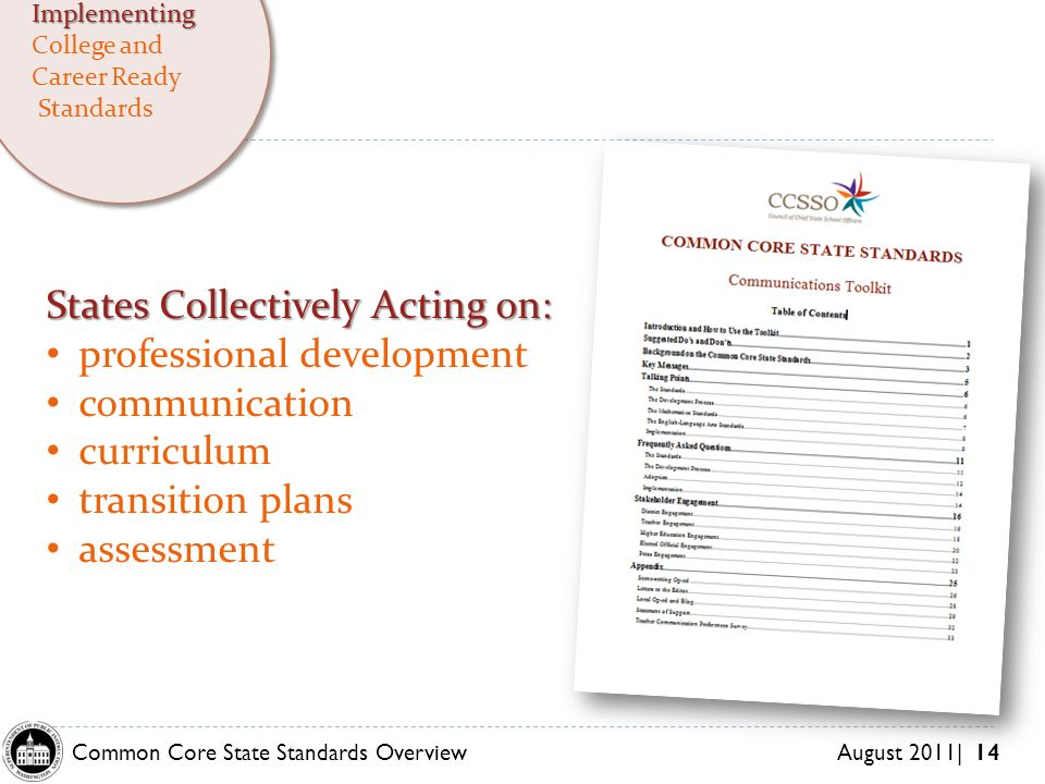 Common Core State Standards Overview August 2011| 14 States Collectively Acting on: professional development communication curriculum transition plans assessment Implementing College and Career Ready Standards