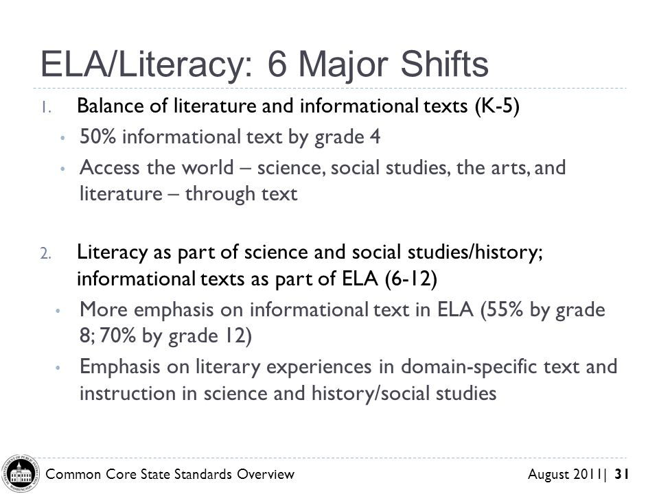 Common Core State Standards Overview August 2011| 31 ELA/Literacy: 6 Major Shifts 1.