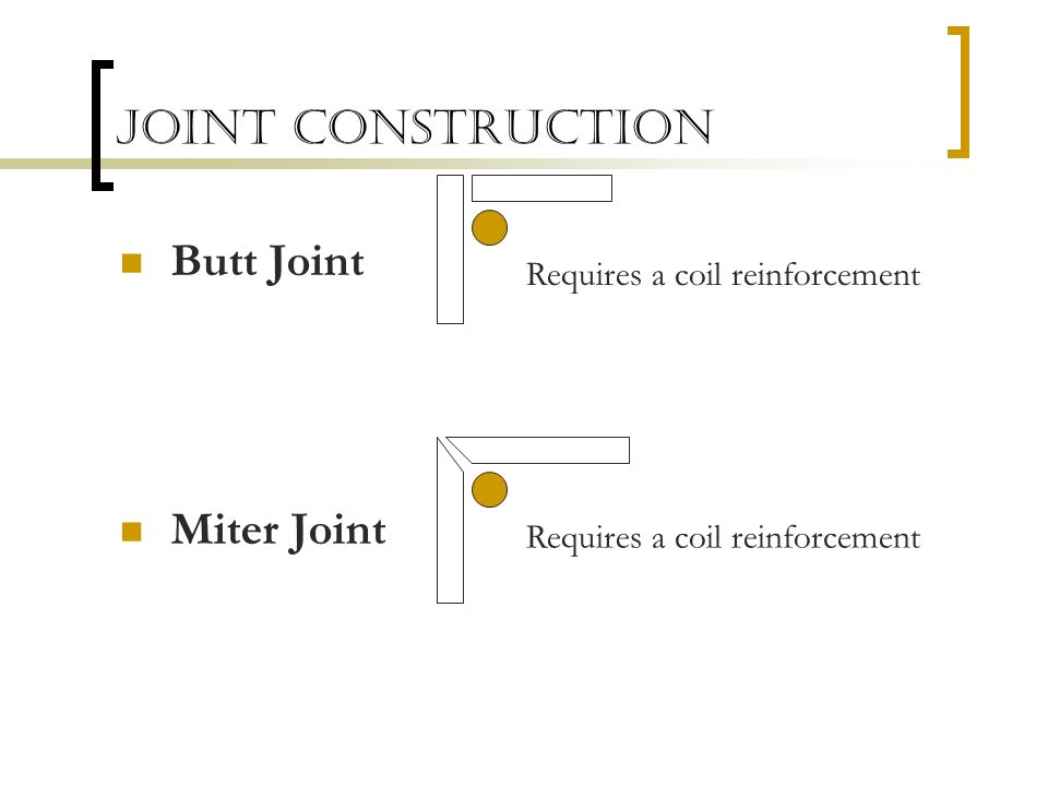 Joint Construction Butt Joint Miter Joint Requires a coil reinforcement