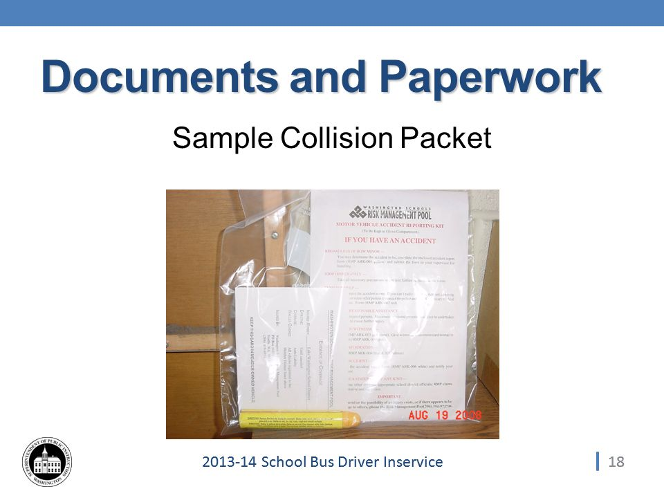 182013-14 School Bus Driver Inservice Documents and Paperwork Sample Collision Packet 18