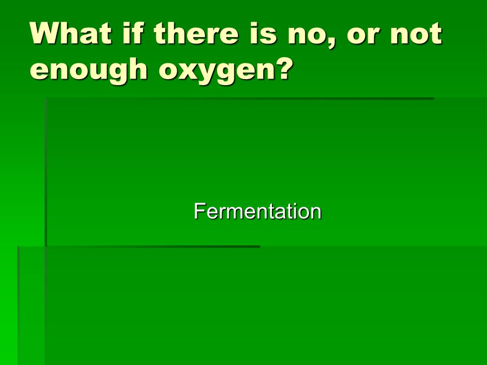 What if there is no, or not enough oxygen? Fermentation
