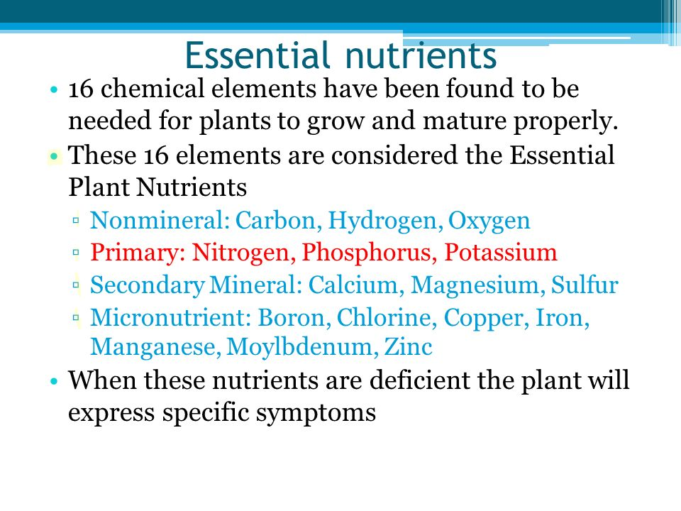Essential nutrients 16 chemical elements have been found to be needed for plants to grow and mature properly. These 16 elements are considered the Ess