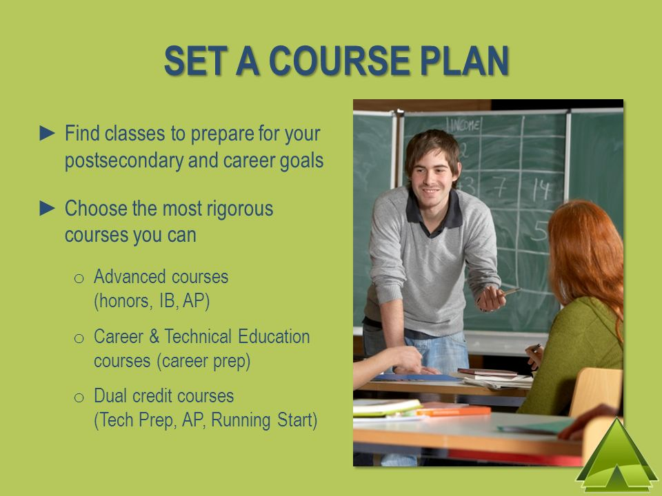 SET A COURSE PLAN Find classes to prepare for your postsecondary and career goals Choose the most rigorous courses you can o Advanced courses (honors,