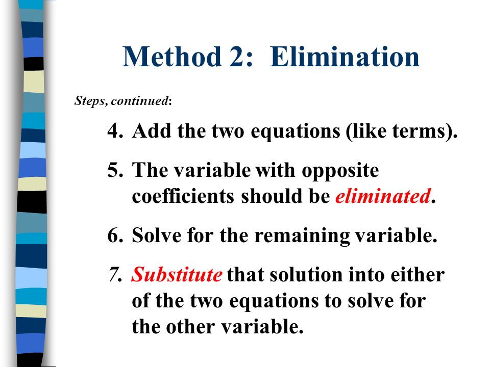 Method 2: Elimination Steps, continued: 4.Add the two equations (like terms). 5.The variable with opposite coefficients should be eliminated. 6.Solve