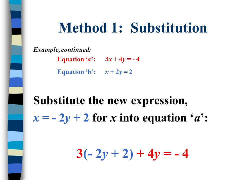 Method 1: Substitution Example, continued: Equation a:3x + 4y = - 4 Equation b:x + 2y = 2 Substitute the new expression, x = - 2y + 2 for x into equat