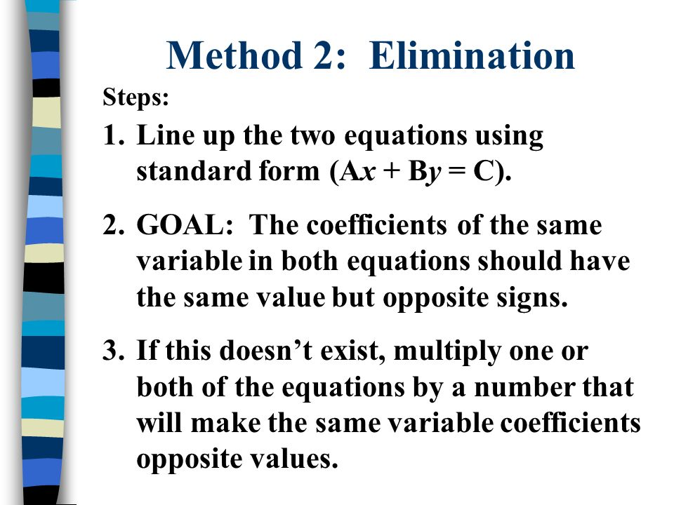 Solving Systems of Three Equations Substitution Method 1.Choose one of the three equations and isolate one of the variables.