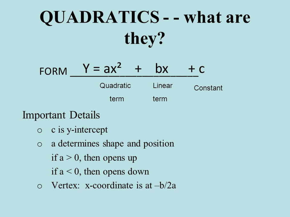 1) Quadratic Formulas and Their Graphs The axis of symmetry here is x = 0 The vertex here is a minimum at (0, 0)