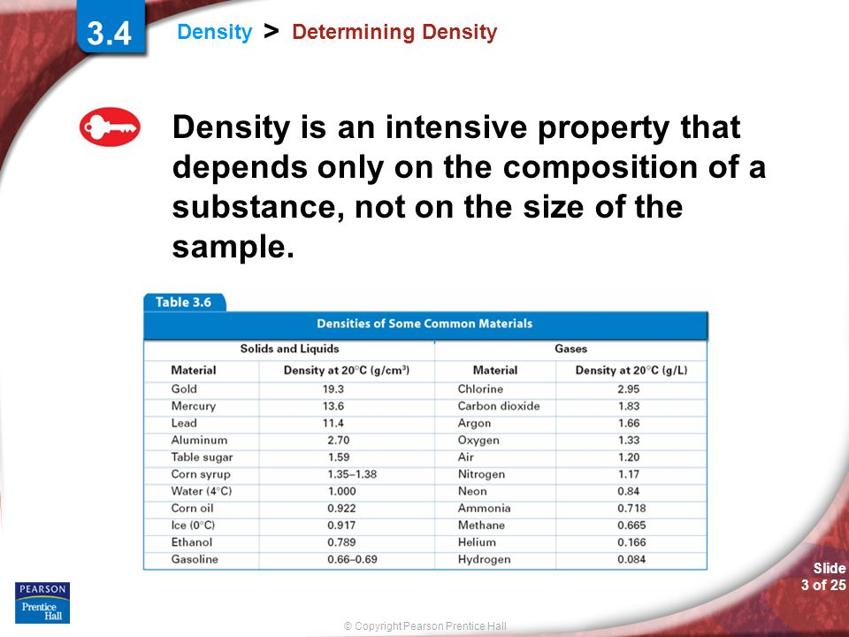 © Copyright Pearson Prentice Hall Slide 3 of 25 Density > Determining Density Density is an intensive property that depends only on the composition of a substance, not on the size of the sample.