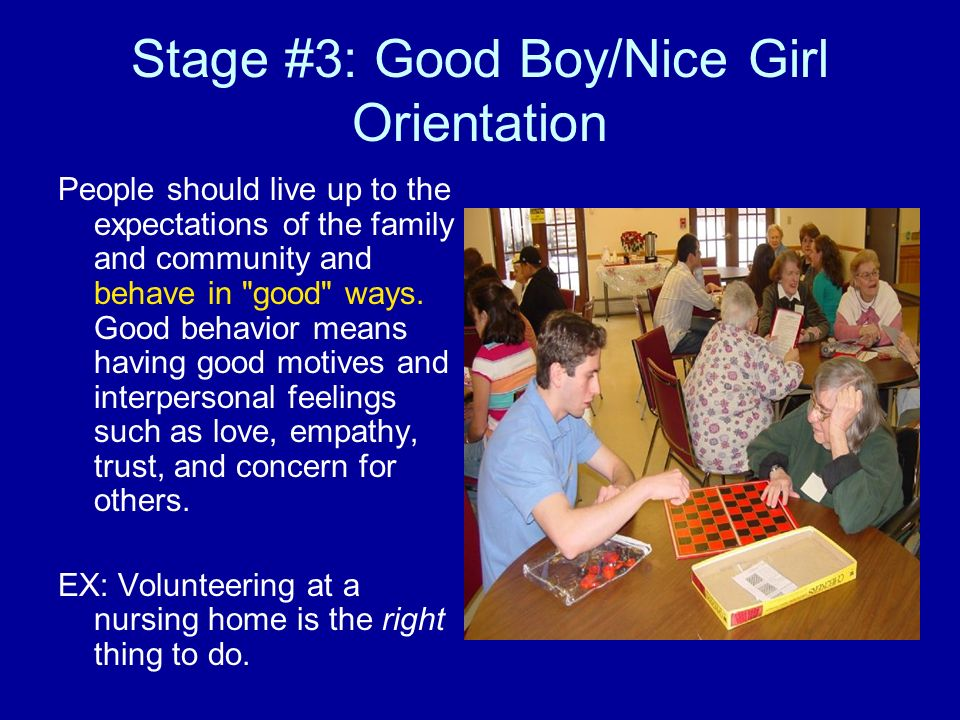 Stage #4: Law and Order Orientation While stage three actions are more concerned with pleasing your family, stage four is associated with following society as a whole.