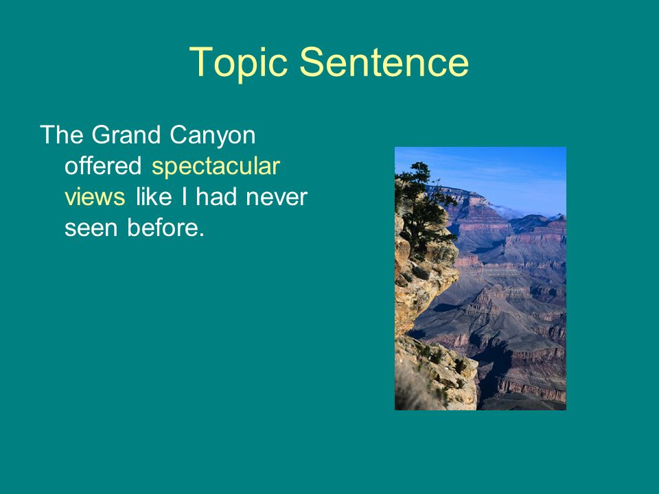 Topic Sentence The Grand Canyon offered spectacular views like I had never seen before.