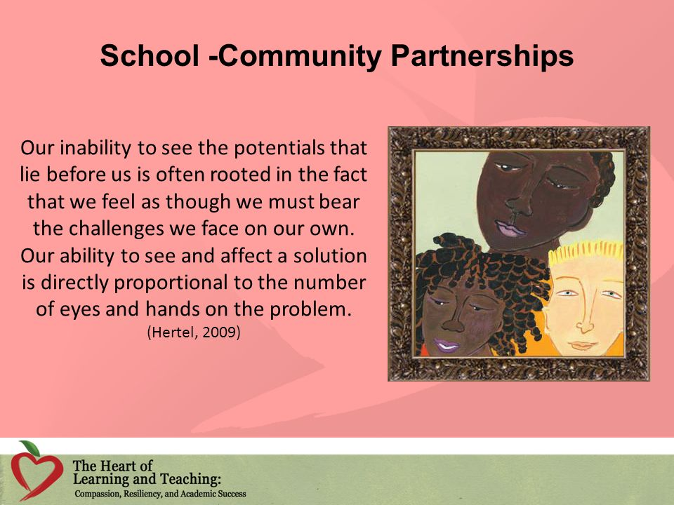 School -Community Partnerships Our inability to see the potentials that lie before us is often rooted in the fact that we feel as though we must bear