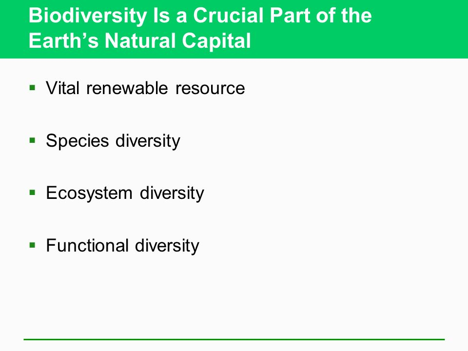 Biodiversity Is a Crucial Part of the Earths Natural Capital Vital renewable resource Species diversity Ecosystem diversity Functional diversity