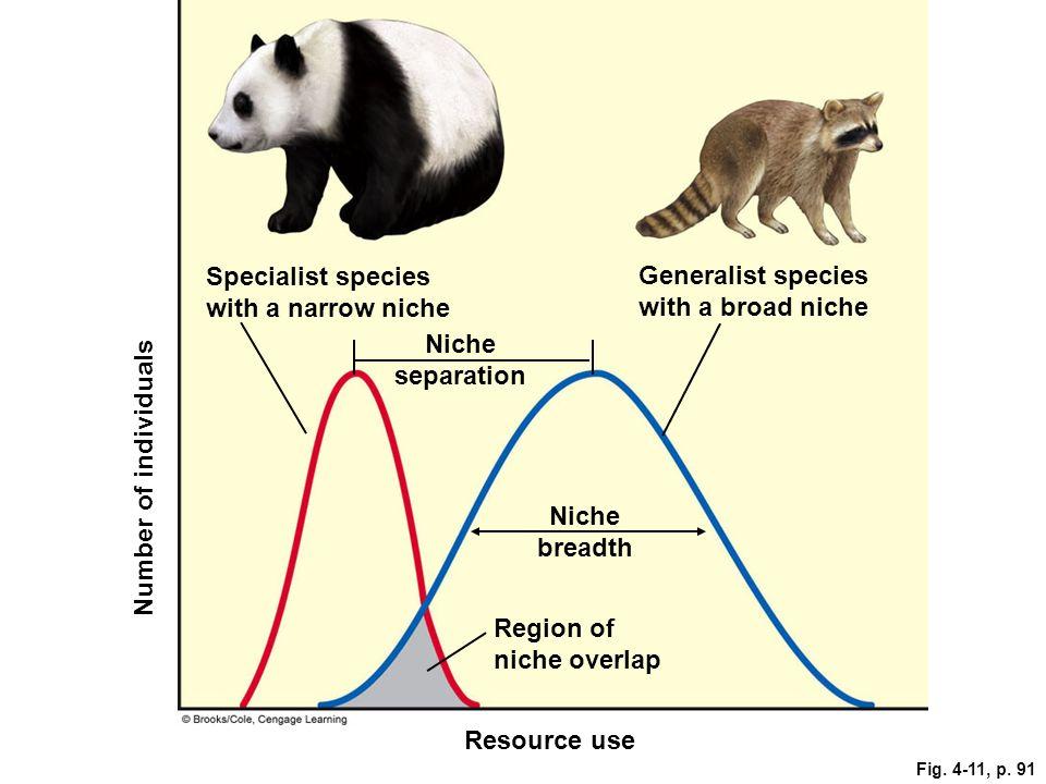 Fig. 4-11, p. 91 Number of individuals Specialist species with a narrow niche Resource use Region of niche overlap Niche breadth Niche separation Gene