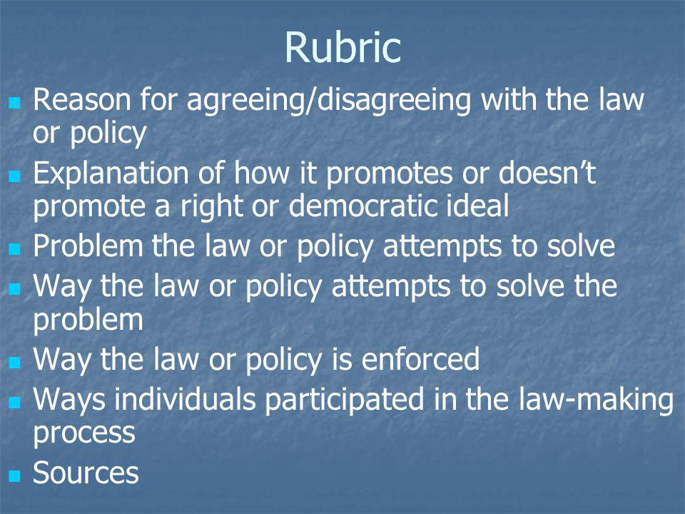 Rubric Reason for agreeing/disagreeing with the law or policy Explanation of how it promotes or doesnt promote a right or democratic ideal Problem the