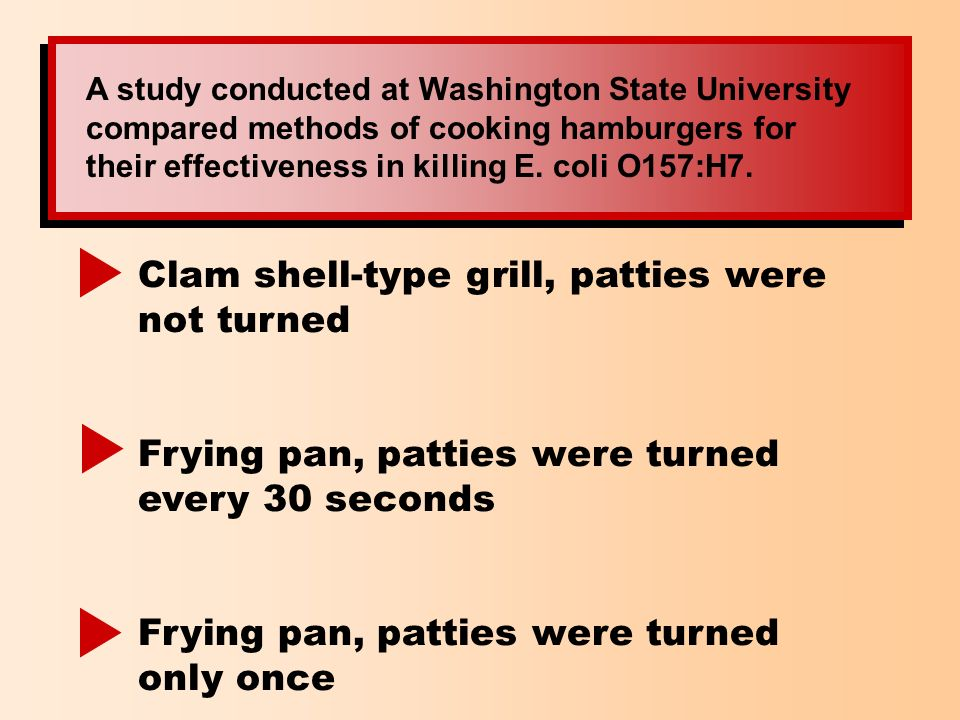 A study conducted at Washington State University compared methods of cooking hamburgers for their effectiveness in killing E. coli O157:H7. Clam shell