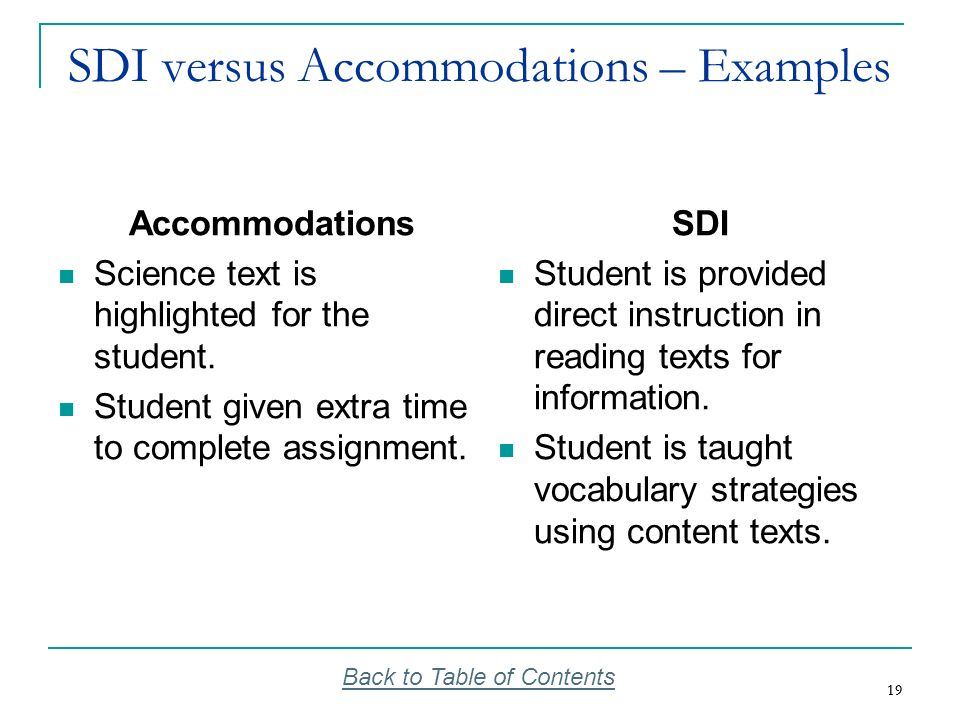 19 SDI versus Accommodations – Examples Accommodations Science text is highlighted for the student. Student given extra time to complete assignment. S