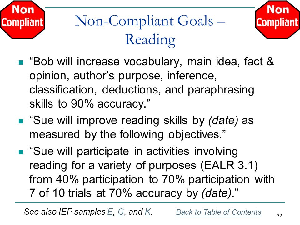 32 Non-Compliant Goals – Reading Bob will increase vocabulary, main idea, fact & opinion, authors purpose, inference, classification, deductions, and