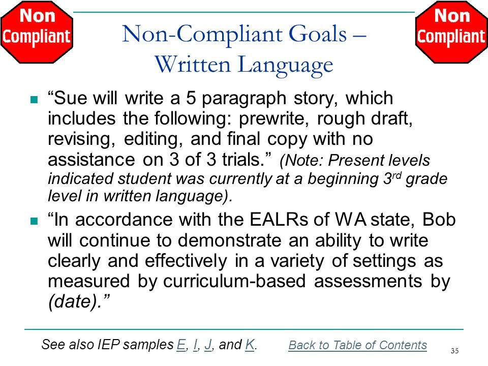35 Non-Compliant Goals – Written Language Sue will write a 5 paragraph story, which includes the following: prewrite, rough draft, revising, editing,