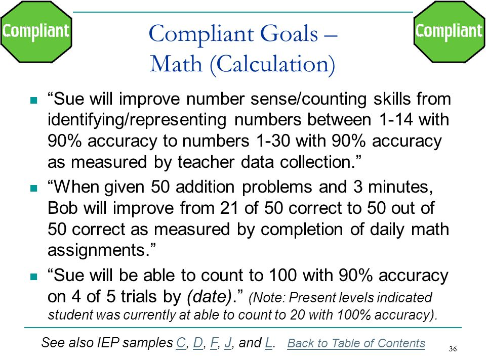 36 Compliant Goals – Math (Calculation) Sue will improve number sense/counting skills from identifying/representing numbers between 1-14 with 90% accu