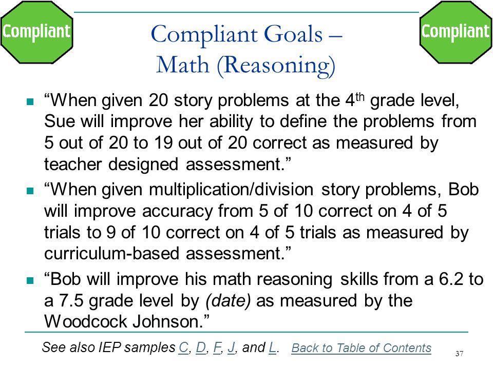 37 Compliant Goals – Math (Reasoning) When given 20 story problems at the 4 th grade level, Sue will improve her ability to define the problems from 5