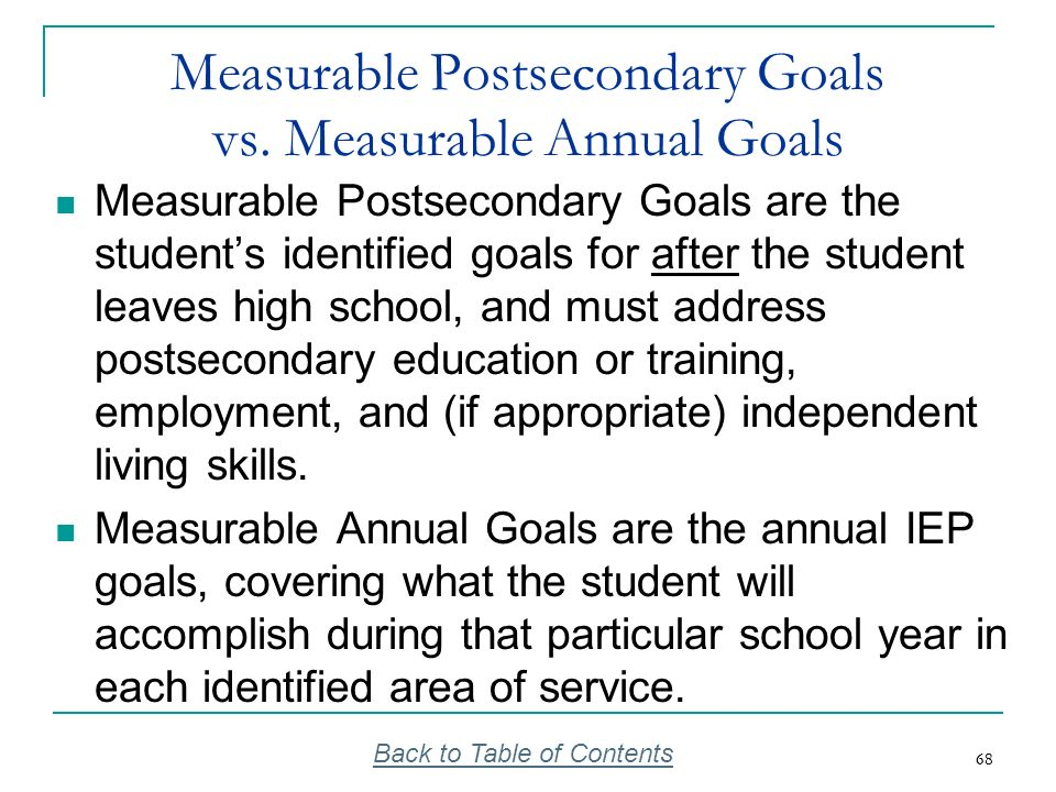 68 Measurable Postsecondary Goals vs. Measurable Annual Goals Measurable Postsecondary Goals are the students identified goals for after the student l