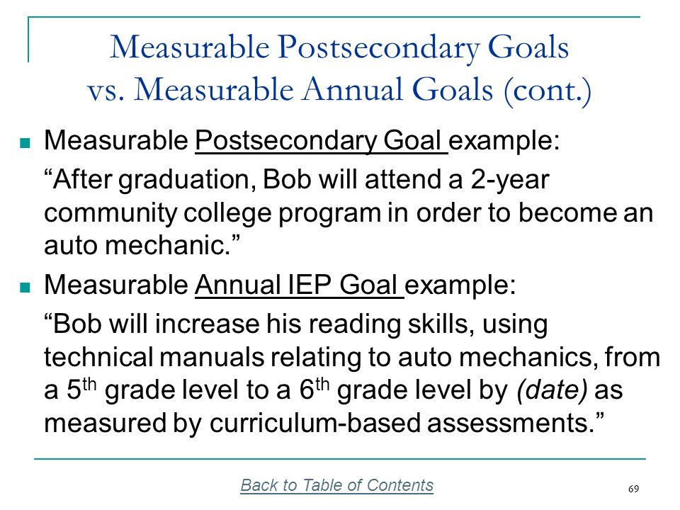 69 Measurable Postsecondary Goals vs. Measurable Annual Goals (cont.) Measurable Postsecondary Goal example: After graduation, Bob will attend a 2-yea