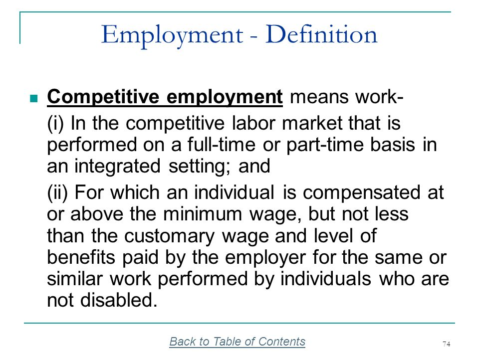 74 Employment - Definition Competitive employment means work- (i) In the competitive labor market that is performed on a full-time or part-time basis