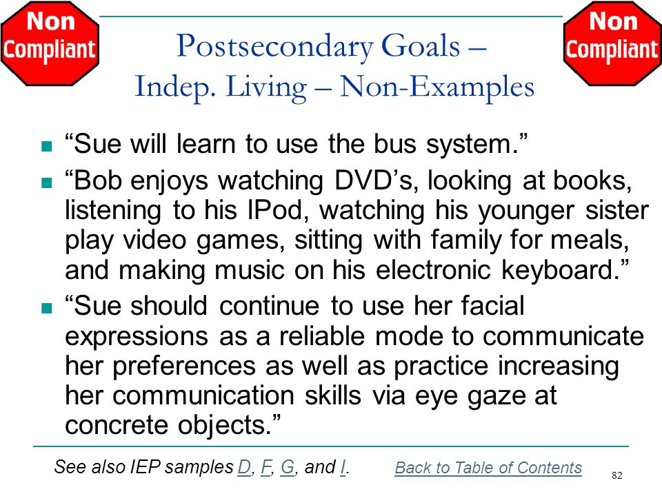 82 Postsecondary Goals – Indep. Living – Non-Examples Sue will learn to use the bus system. Bob enjoys watching DVDs, looking at books, listening to h